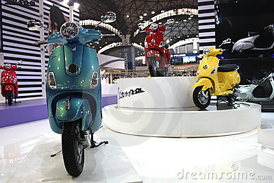 Vespa two wheeler on display at the Auto Expo 2012 Editorial Photography