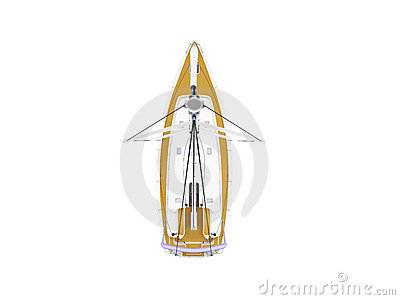 Vessel boat isolated top view