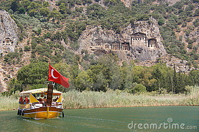 Vessel at Dalyan rock tombs