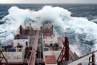 Vessel in heavy seas