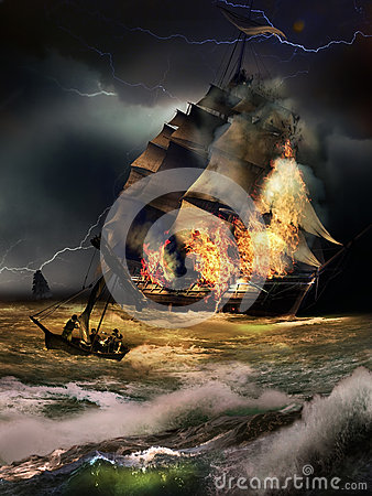 Free Vessel On Fire Royalty Free Stock Photography - 71321537