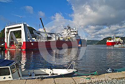 Vessels moored to quay in the port of halden