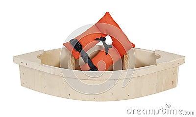 Veste de vida no barco de madeira