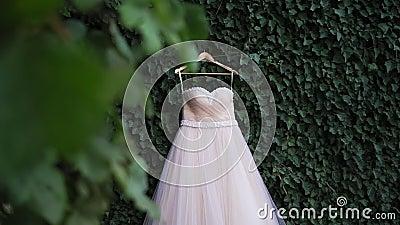 Vestido de boda con las perlas que cuelgan en hombros en jardín verde antes de ceremonia Cierre de la alineada de boda para arrib almacen de metraje de vídeo