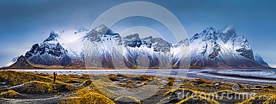 Vestrahorn mountain range and Stokksnes beach panorama Stock Photo