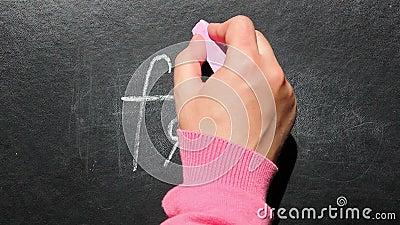 Vet van het vrouwen schrijft het dwars uit woord en Pasvorm op bord stock videobeelden