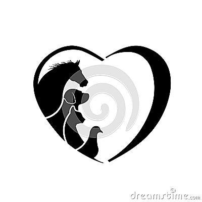 Free Veterinarian Heart Horse Dog Cat Bird Love Logo Stock Images - 43110574