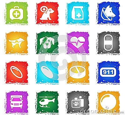 Veterinary clinic icon set Stock Photo
