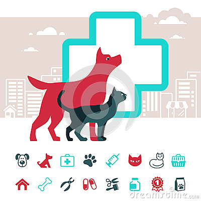 Veterinary emblem and pets icons