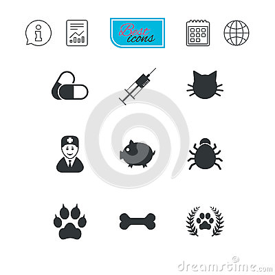 Veterinary, pets icons. Paw, syringe and bone. Vector Illustration