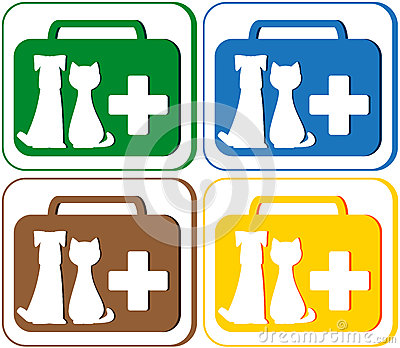 Veterinary symbol with portfolio and pet dog with