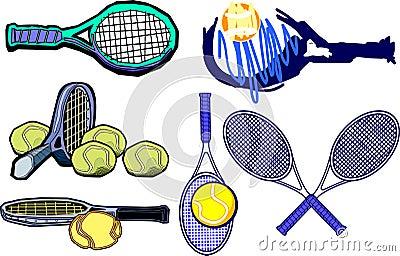 Vetor das imagens da raquete de tênis