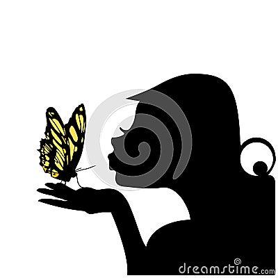 Vetor de beijo da borboleta da mulher