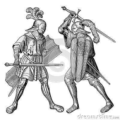 Vetor de dois cavaleiros