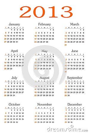 Vetor do calendário 2013