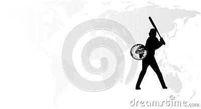 Vetor do jogador de beisebol da terra