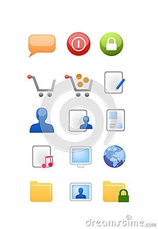 Vetor dos ícones do Web e do Internet