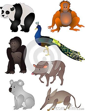 Vetor dos animais dos desenhos animados