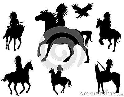 Vetor dos cavaleiros do nativo americano