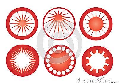 Vetor retro dos ícones do sol