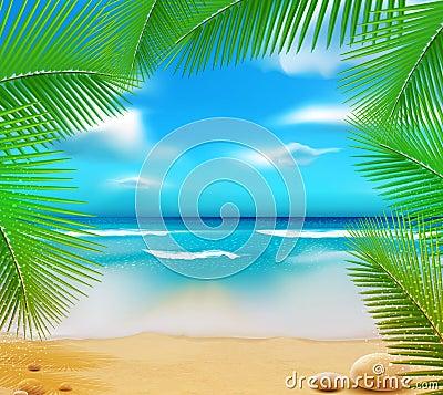 Vetorny landscape with a sky-blue ocean