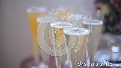 Vetri di champagne video d archivio