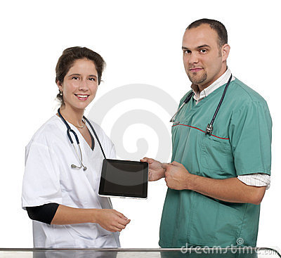 Vets holding a digital tablet