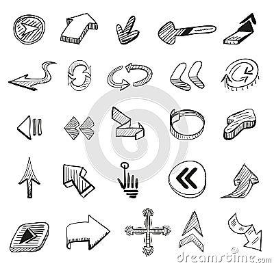 Immagine stock libera da diritti: vettore fissato: 25 frecce disegnate