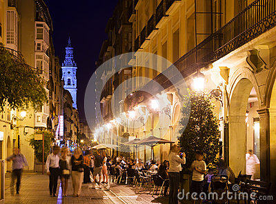 Vew of night street with restaurants in Logrono