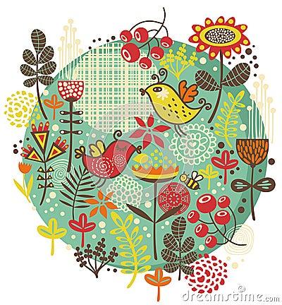 Vögel, Blumen und andere Natur.