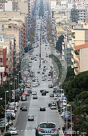 Via G.B. Fardella in Trapani - Sicily Editorial Stock Image