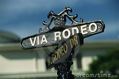 Via Rodeo street sign