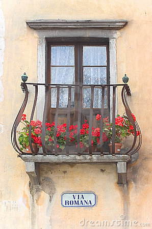 Via romana italian balcony royalty free stock for Balcony clipart