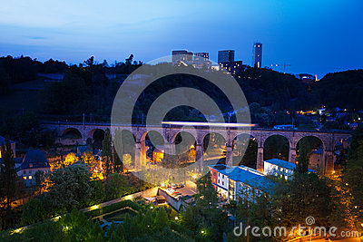 Viaduc (Passerelle) view at night in Luxembourg
