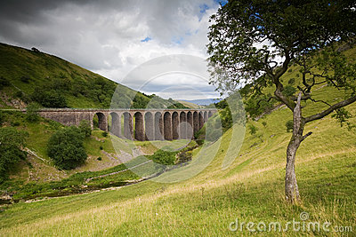 Viaduct in English Countryside on Cloudy Day