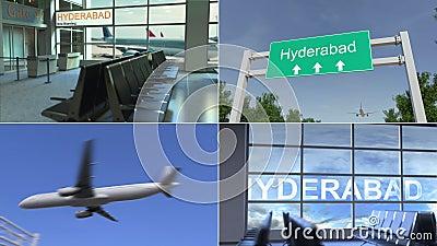 Viaggio ad Haidarabad L'aeroplano arriva all'animazione concettuale del montaggio del Pakistan video d archivio