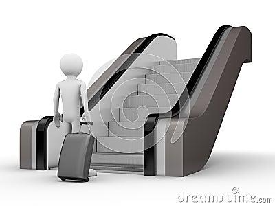 Viajante com um tronco antes da escada rolante