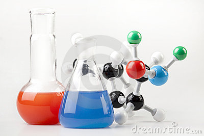 Vials witch Fluid and Molecular Chain