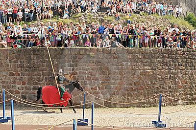 VIBORG, RUSSIA - JULY 31: the horse knight with a Editorial Photo