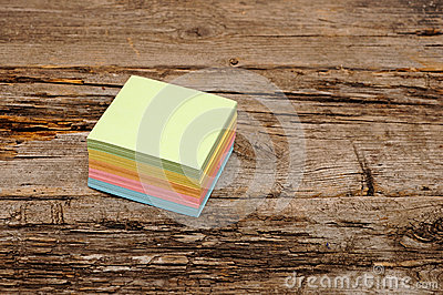 Vibrant block of colorful post it notes