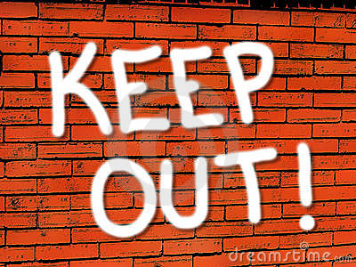 vibrant brick wall keep out wallpaper stock photography