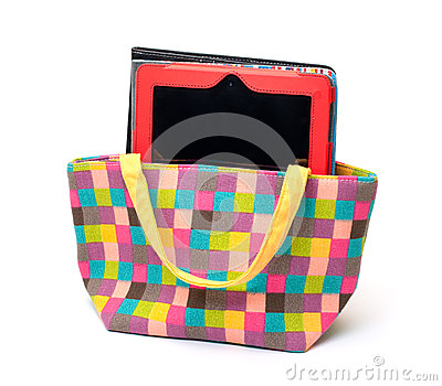 Vibrant Cloth Ladies Handbag with Tablet PC