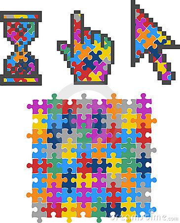 Vibrant Color Puzzle Computer Cursors.