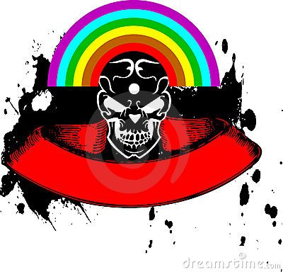 Vibrant Color Rainbow Skull Banner.