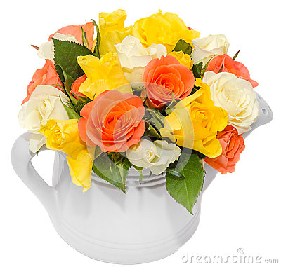 Free Vibrant Colored Rose Flowers (red, Orange, Yellow And White Roses) In A White Water Can, Isolated, White Background Stock Image - 49245751