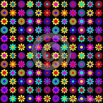 Vibrant Colorful Flowers on Black Background