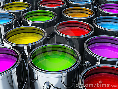 Vibrant colors paint cans
