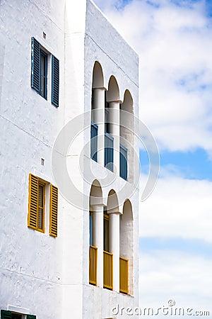 Vibrant greek styled building
