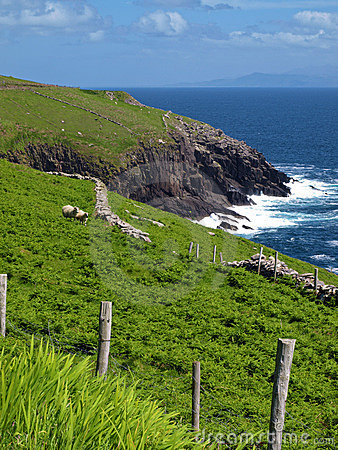 Vibrant  irish scenic coastal seascape