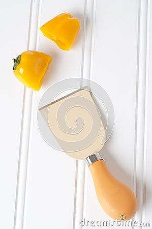 Vibrant Knife and Cut Pepper